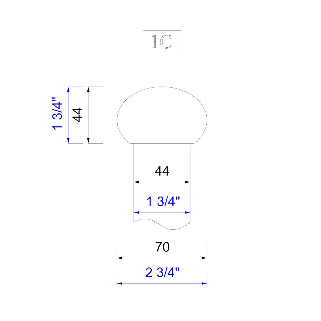 """Handrail profile 1 to suit 44mm or 1 3/4"""" spindles"""