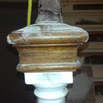 square newel cap, turned post.