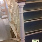 square newel cap on turned newel post.