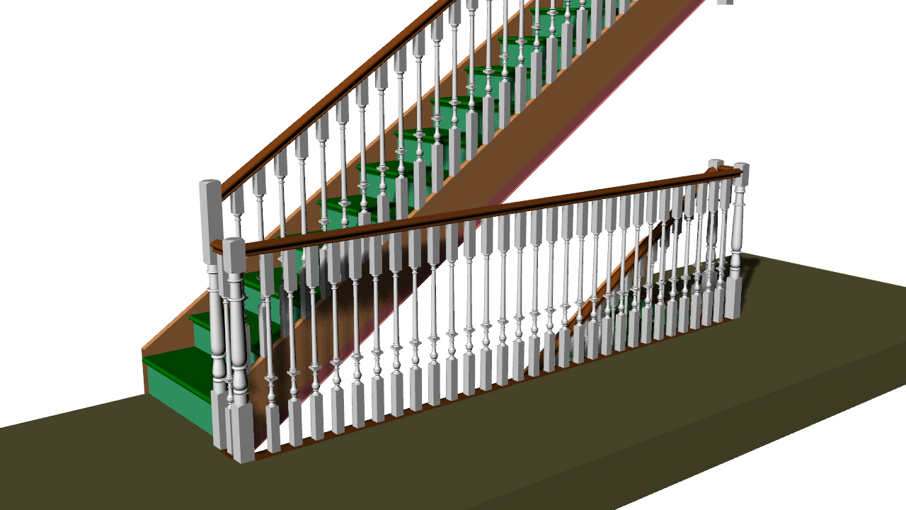 A straight flight with stair well and newel posts.
