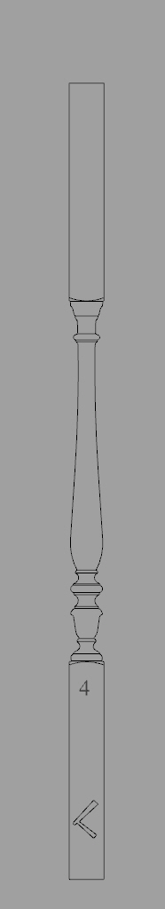 A cad outline drawing of a traditionally turned spindle.