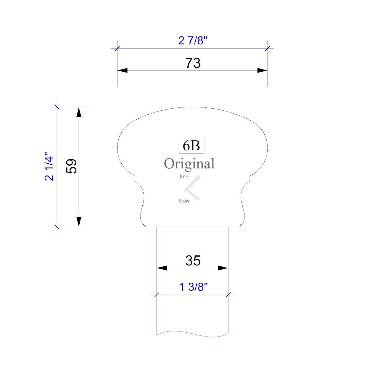 Handrail profile outline 6B 35