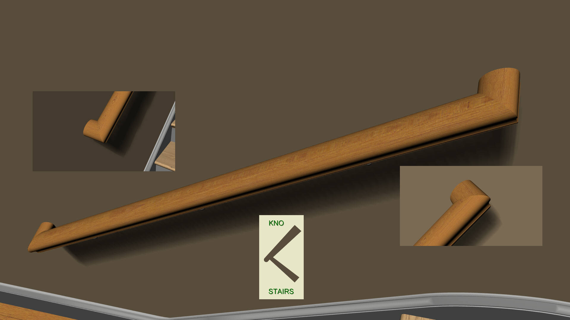 Mitred return on the end of a straight handrail.