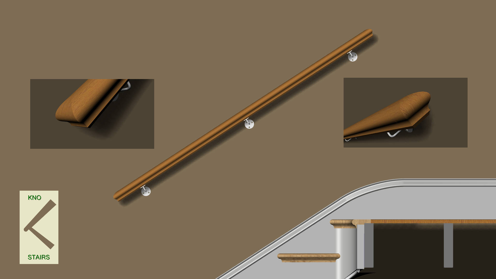 Straight rail with square profiled ends.