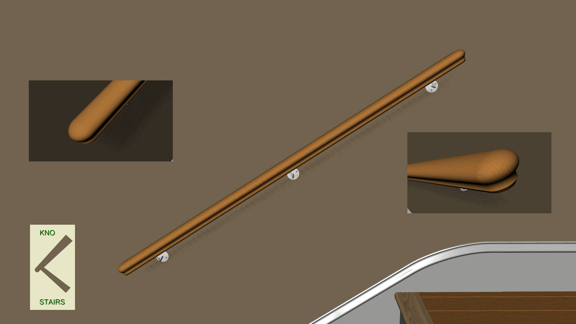 Straight wall rail with rounded profiled ends.
