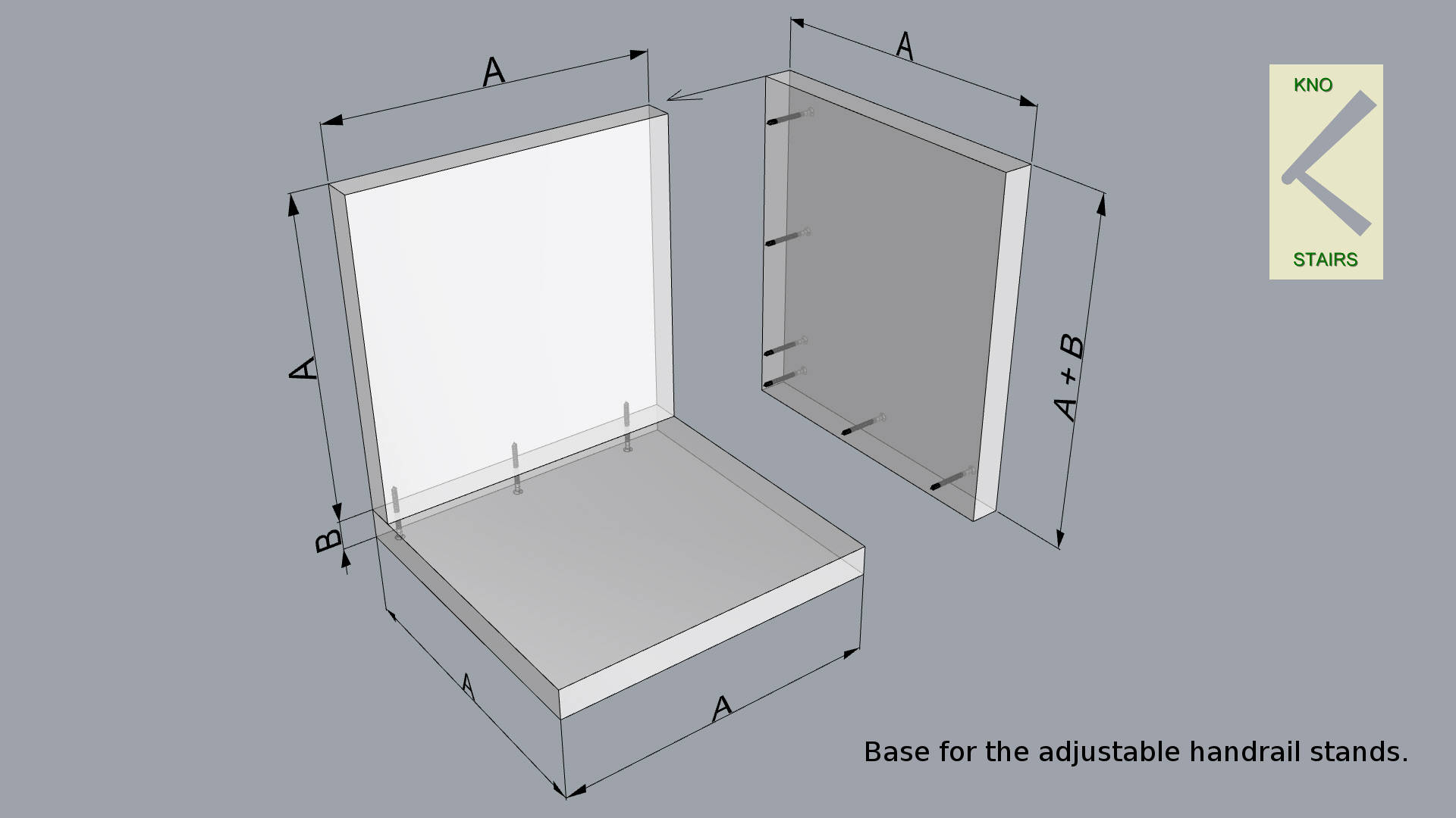 Handrail stand - Base assembly.